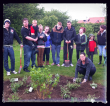 Josh's mum leads family and friends in planting the shrub bed