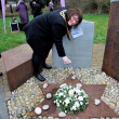 Brigg Town Mayor Cllr Sharon Riggall Laying a stone at the Memorial